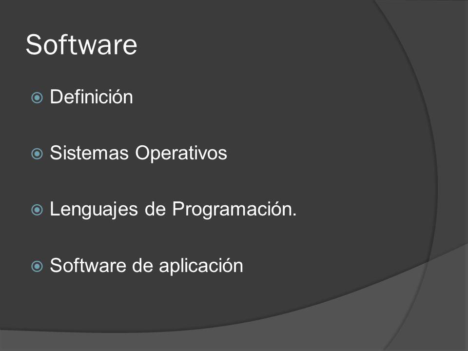 Software Definición Sistemas Operativos Lenguajes de Programación.