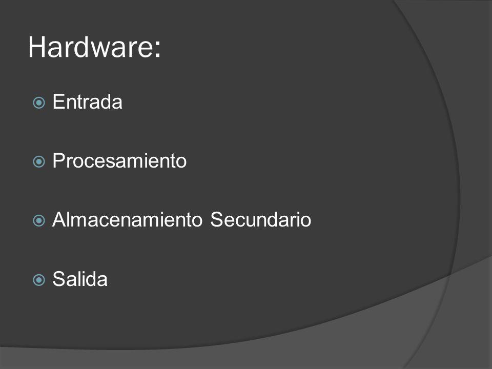 Hardware: Entrada Procesamiento Almacenamiento Secundario Salida
