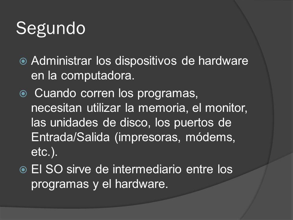 Segundo Administrar los dispositivos de hardware en la computadora.
