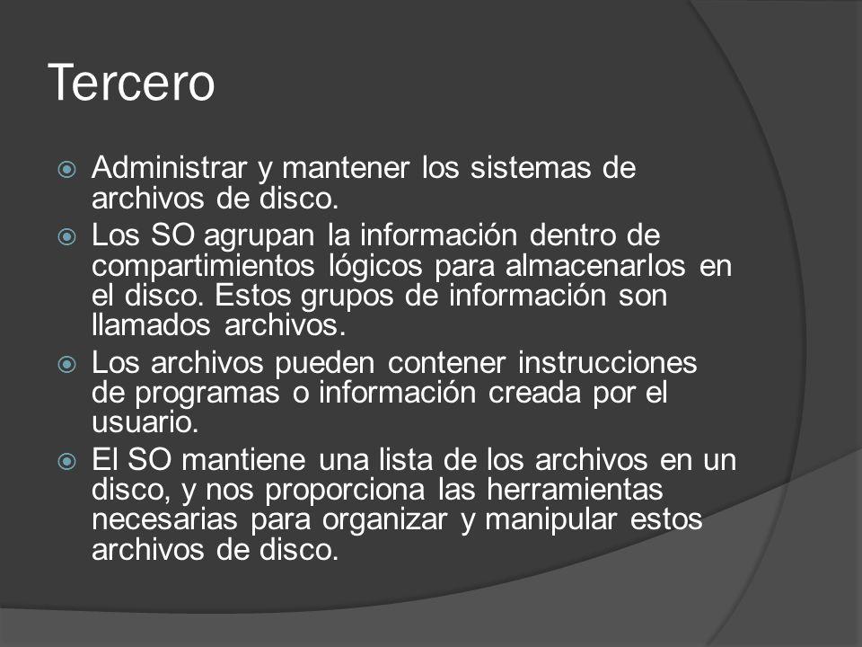 Tercero Administrar y mantener los sistemas de archivos de disco.