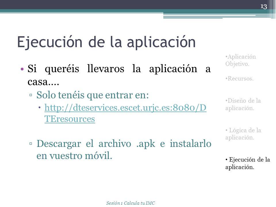 Ejecución de la aplicación