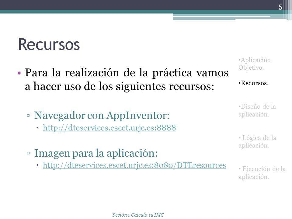 Recursos Aplicación Objetivo. Recursos. Diseño de la aplicación. Lógica de la aplicación. Ejecución de la aplicación.