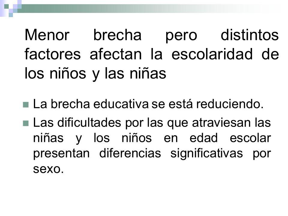 Menor brecha pero distintos factores afectan la escolaridad de los niños y las niñas