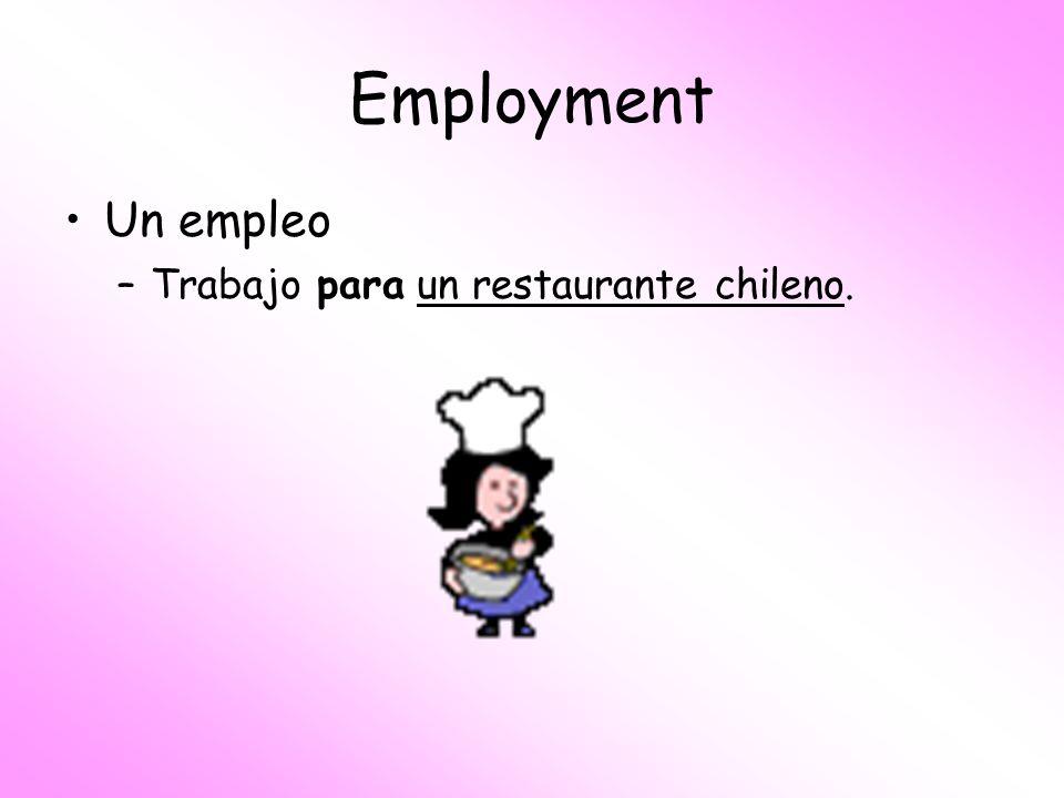 Employment Un empleo Trabajo para un restaurante chileno.