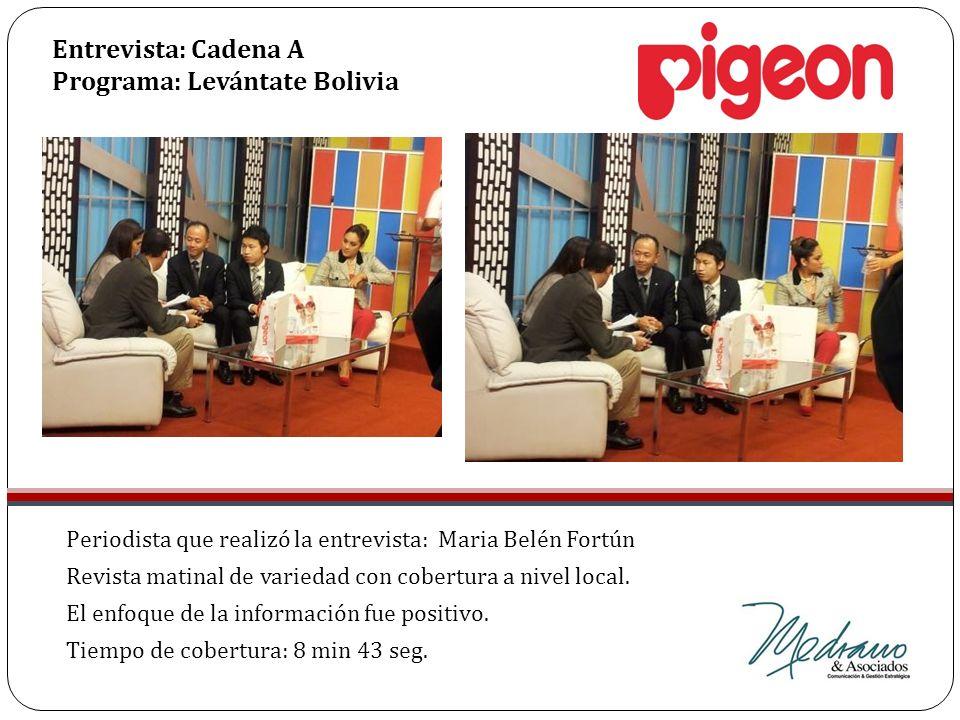Entrevista: Cadena A Programa: Levántate Bolivia