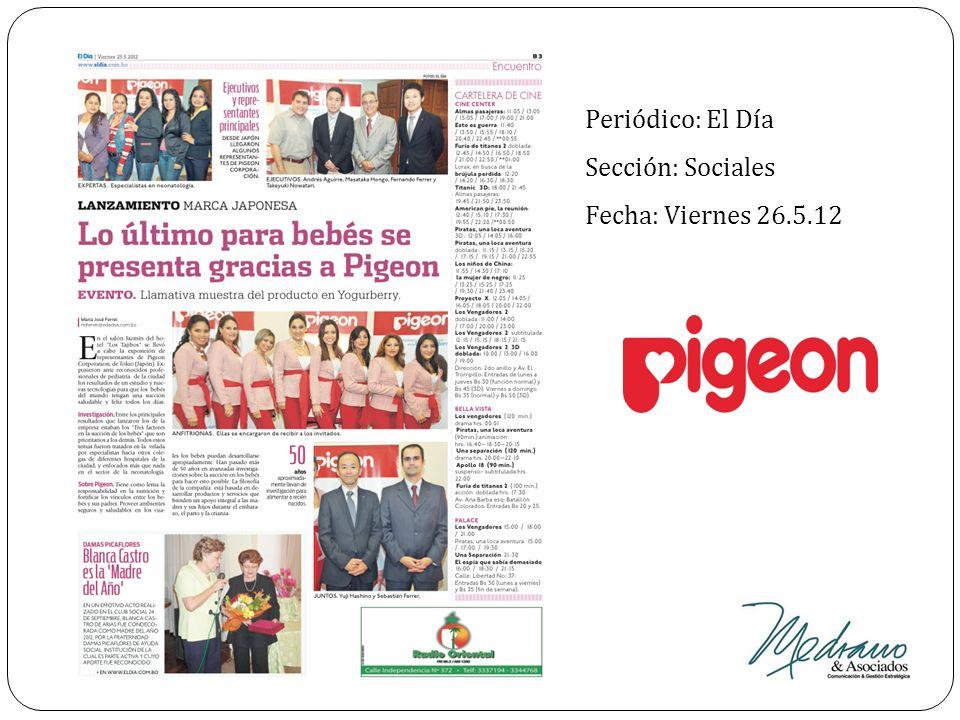 Periódico: El Día Sección: Sociales Fecha: Viernes 26.5.12