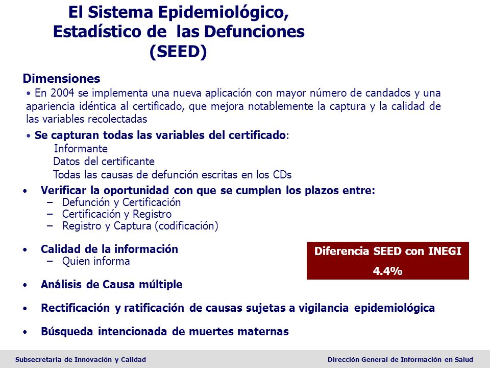 El Sistema Epidemiológico, Estadístico de las Defunciones (SEED)