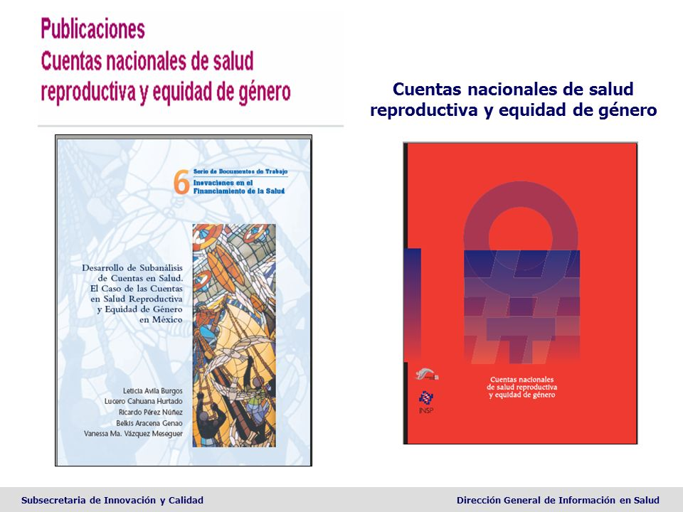 Cuentas nacionales de salud reproductiva y equidad de género