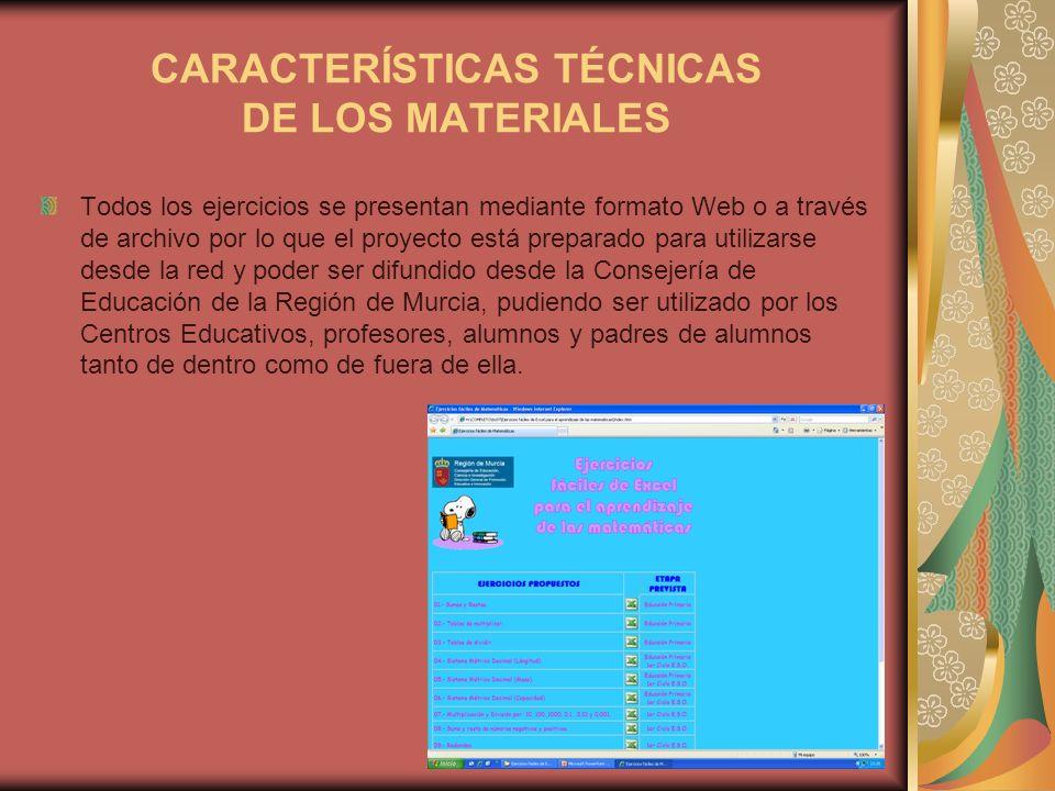 CARACTERÍSTICAS TÉCNICAS DE LOS MATERIALES