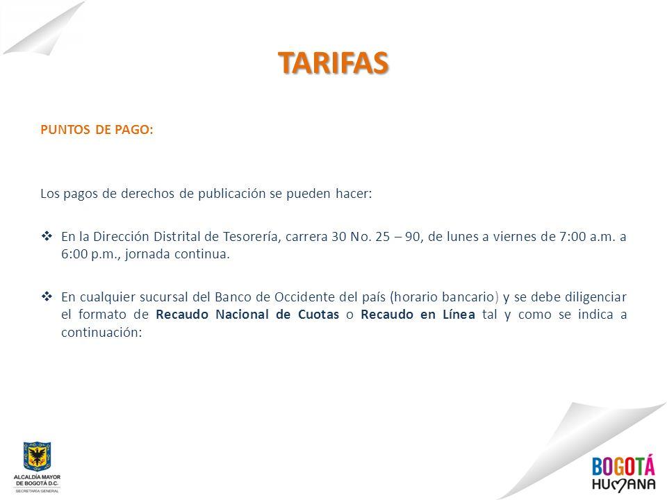 TARIFAS PUNTOS DE PAGO: