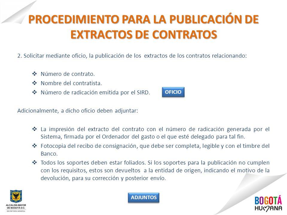 PROCEDIMIENTO PARA LA PUBLICACIÓN DE EXTRACTOS DE CONTRATOS