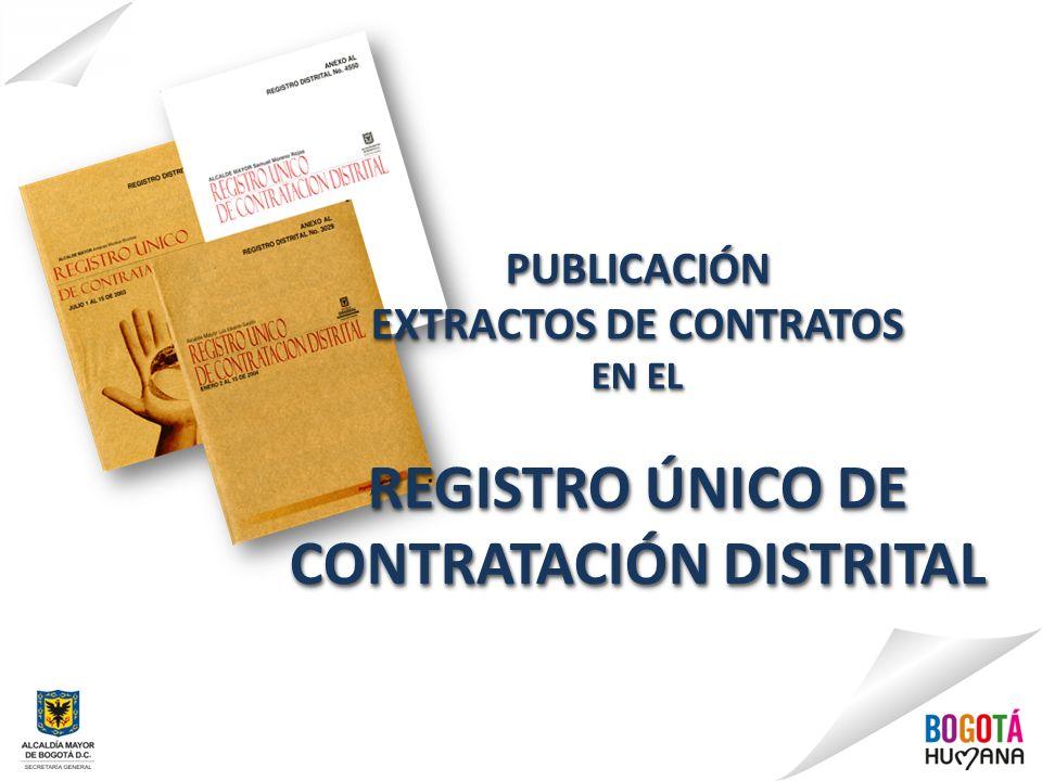 EXTRACTOS DE CONTRATOS CONTRATACIÓN DISTRITAL