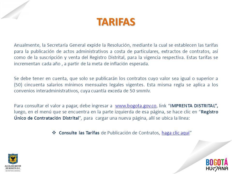 Consulte las Tarifas de Publicación de Contratos, haga clic aquí