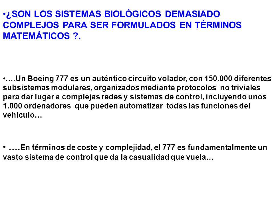 ¿SON LOS SISTEMAS BIOLÓGICOS DEMASIADO COMPLEJOS PARA SER FORMULADOS EN TÉRMINOS MATEMÁTICOS .