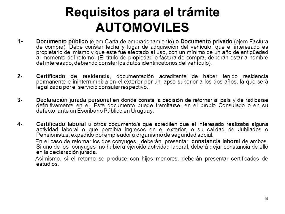 Requisitos para el trámite AUTOMOVILES