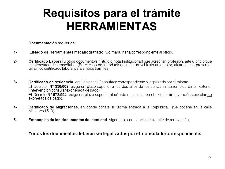Requisitos para el trámite HERRAMIENTAS