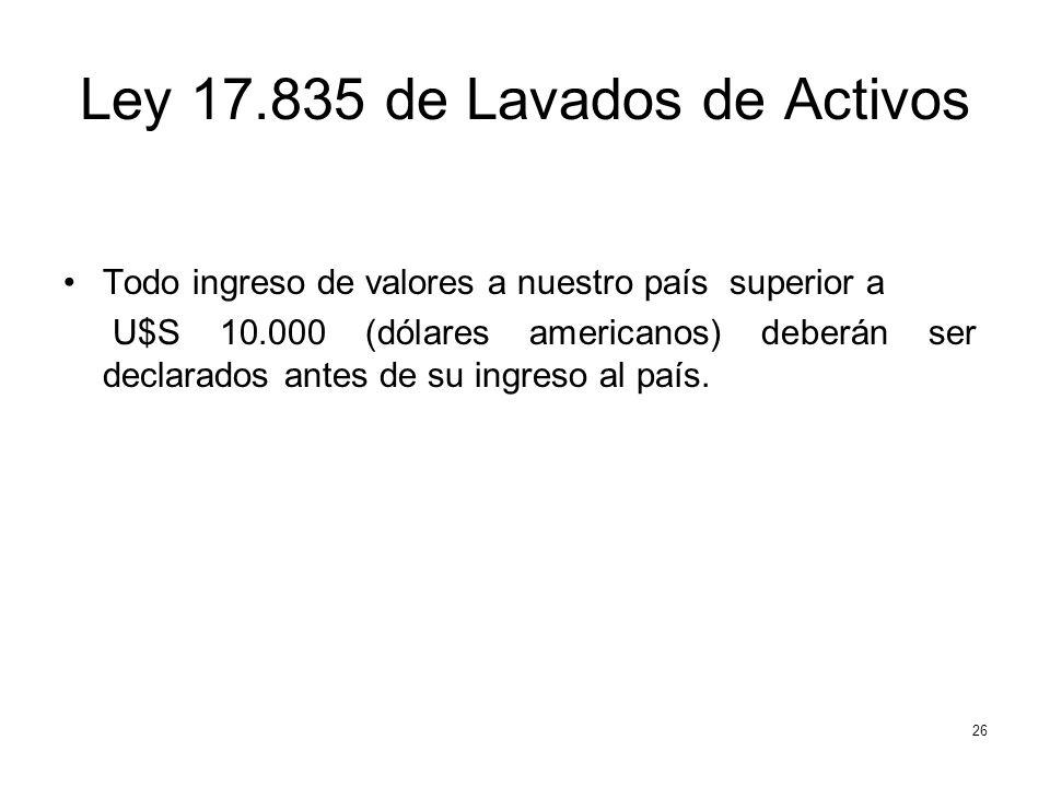 Ley 17.835 de Lavados de Activos