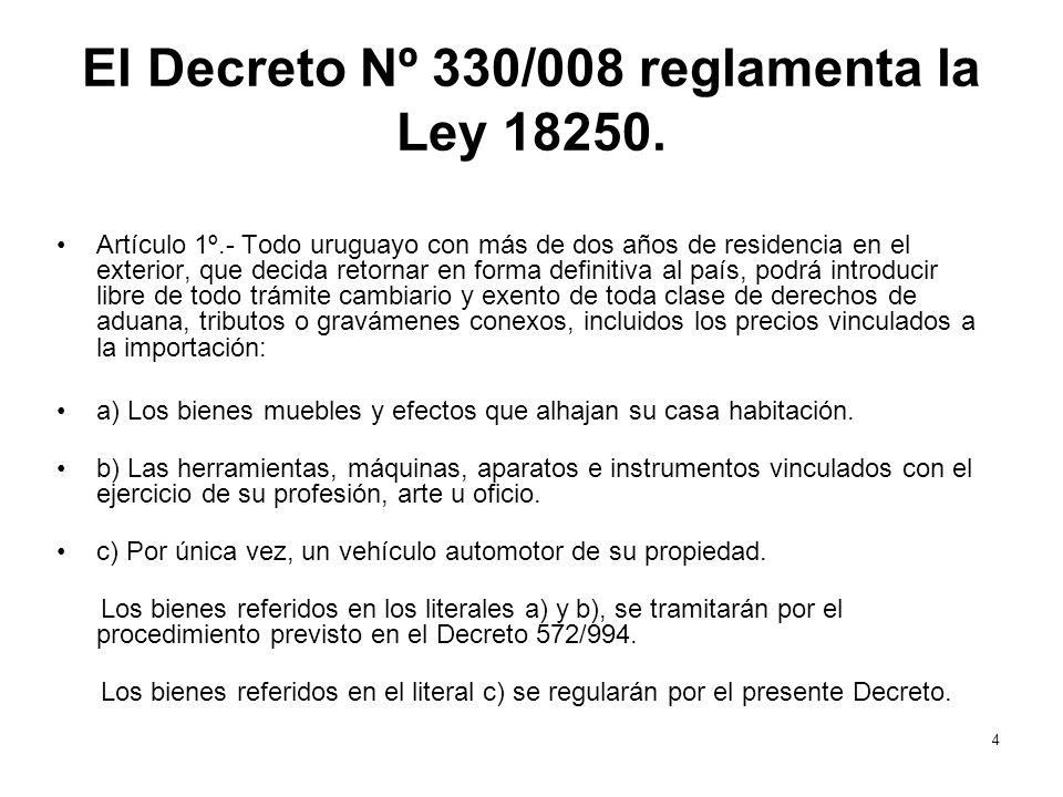 El Decreto Nº 330/008 reglamenta la Ley 18250.