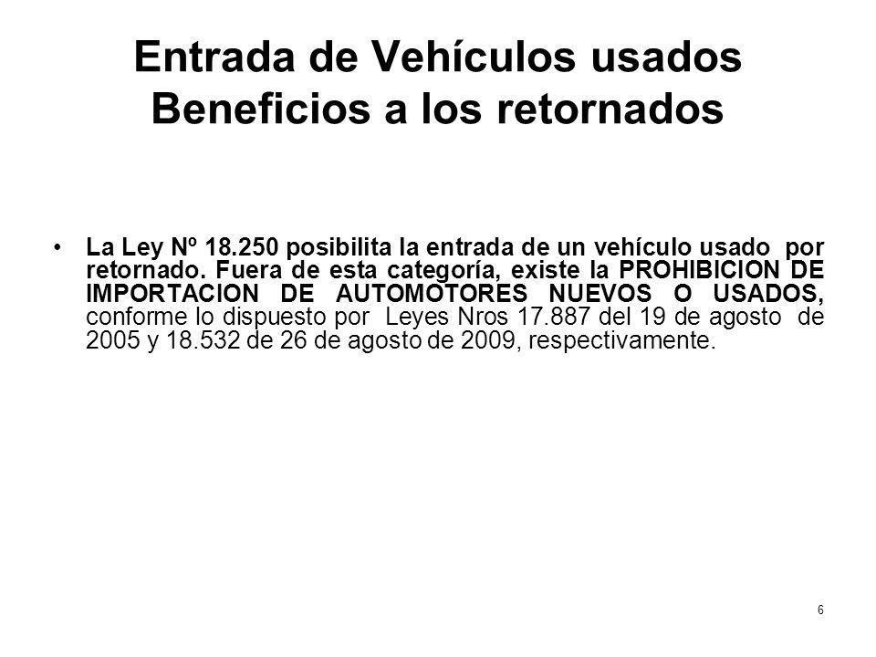 Entrada de Vehículos usados Beneficios a los retornados