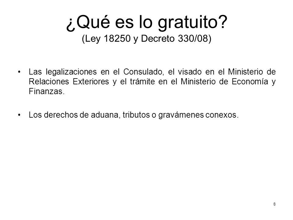 ¿Qué es lo gratuito (Ley 18250 y Decreto 330/08)