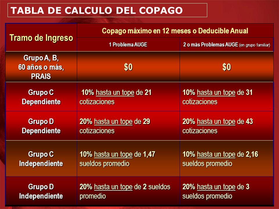 TABLA DE CALCULO DEL COPAGO