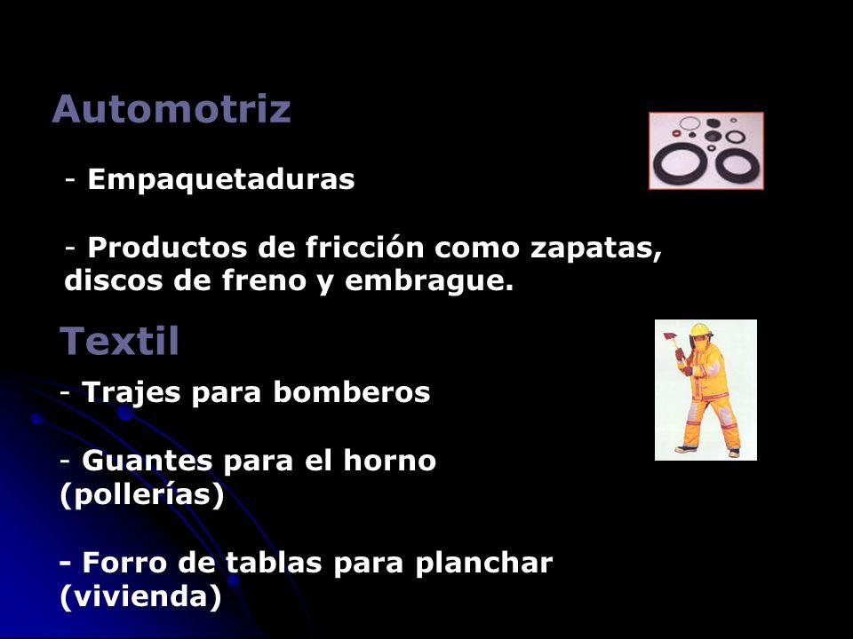 Automotriz Textil Empaquetaduras Productos de fricción como zapatas,