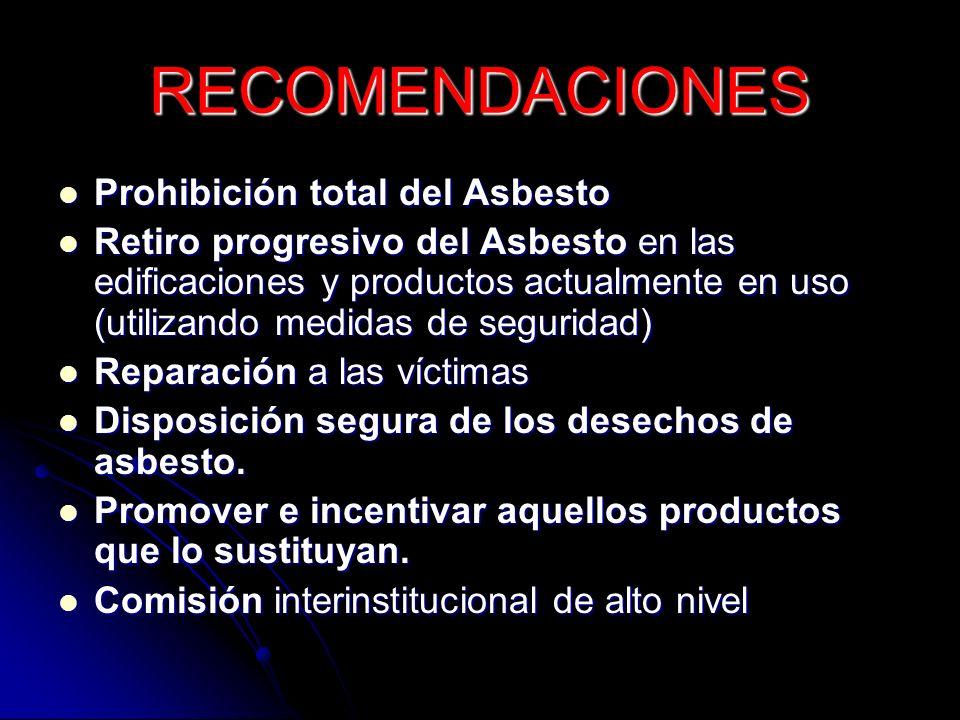 RECOMENDACIONES Prohibición total del Asbesto