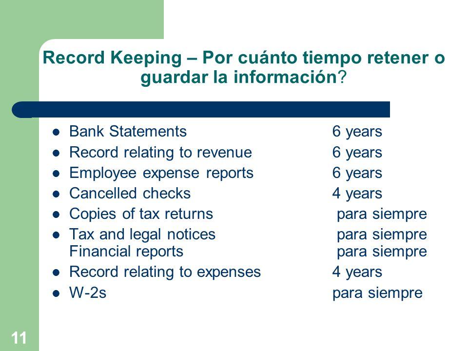 Record Keeping – Por cuánto tiempo retener o guardar la información