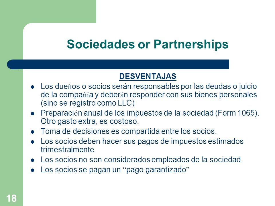Sociedades or Partnerships