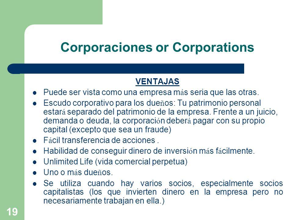 Corporaciones or Corporations