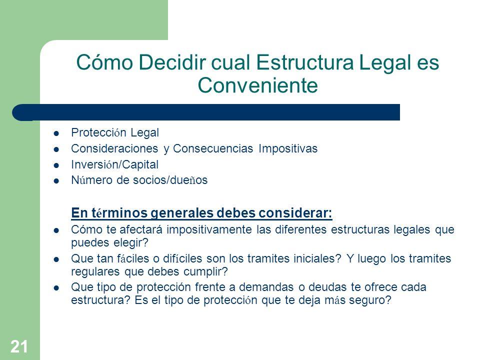 Cómo Decidir cual Estructura Legal es Conveniente