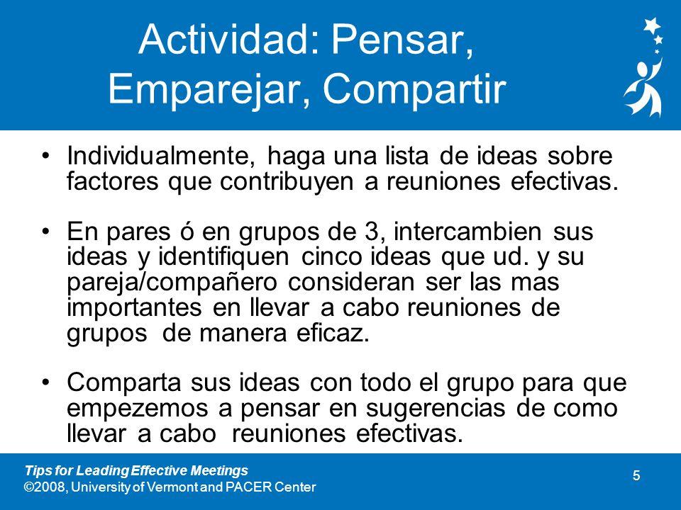 Actividad: Pensar, Emparejar, Compartir