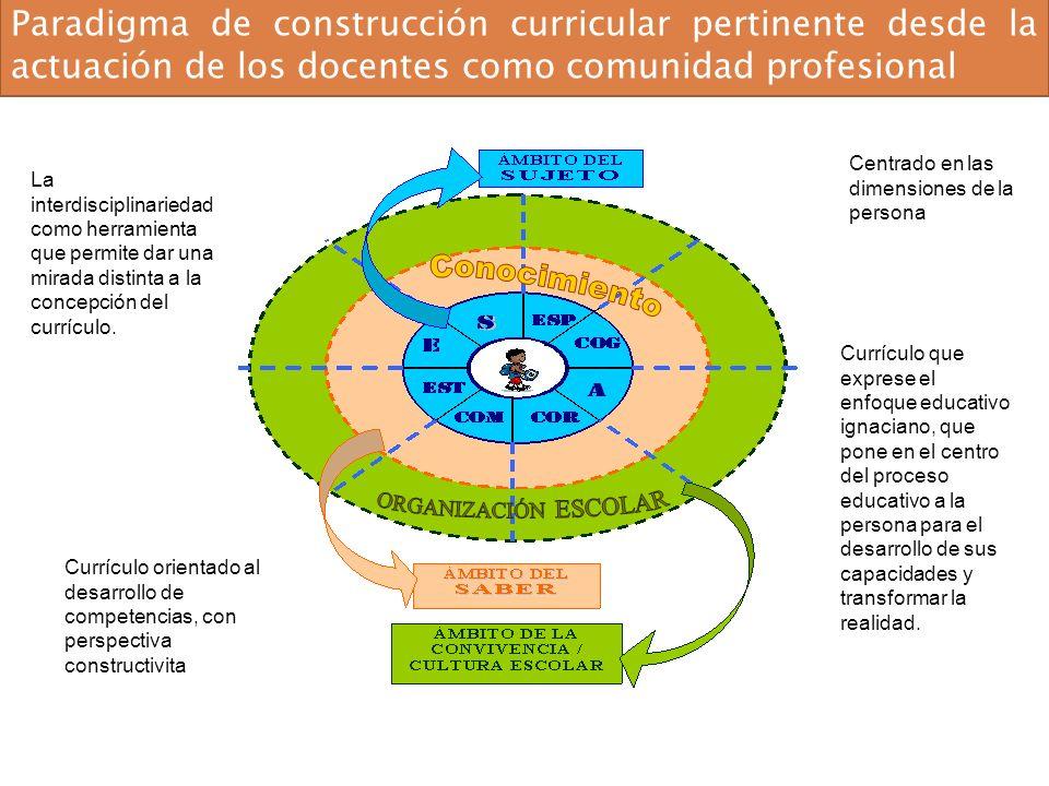 Paradigma de construcción curricular pertinente desde la actuación de los docentes como comunidad profesional