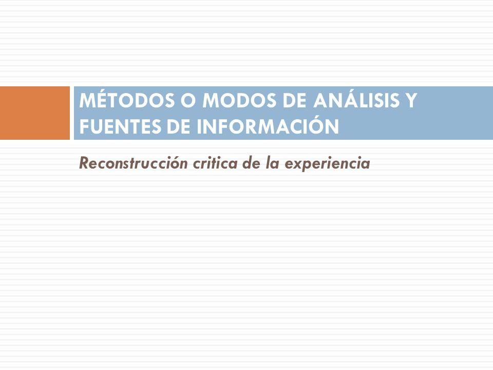 MÉTODOS O MODOS DE ANÁLISIS Y FUENTES DE INFORMACIÓN