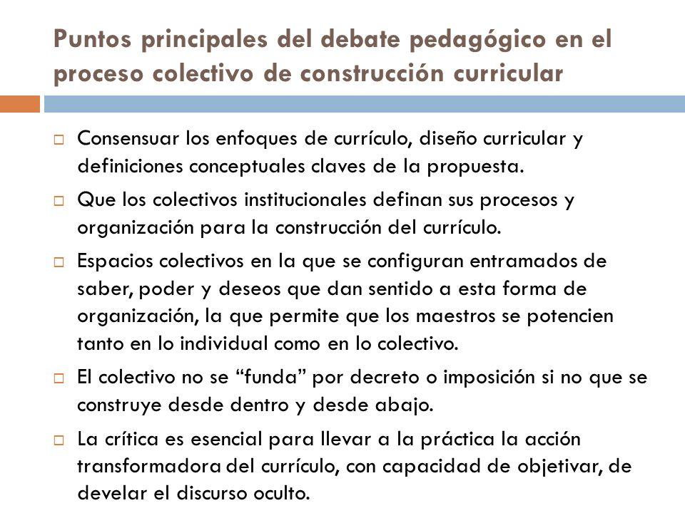Puntos principales del debate pedagógico en el proceso colectivo de construcción curricular