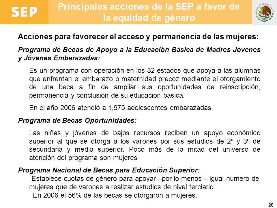 Principales acciones de la SEP a favor de la equidad de género