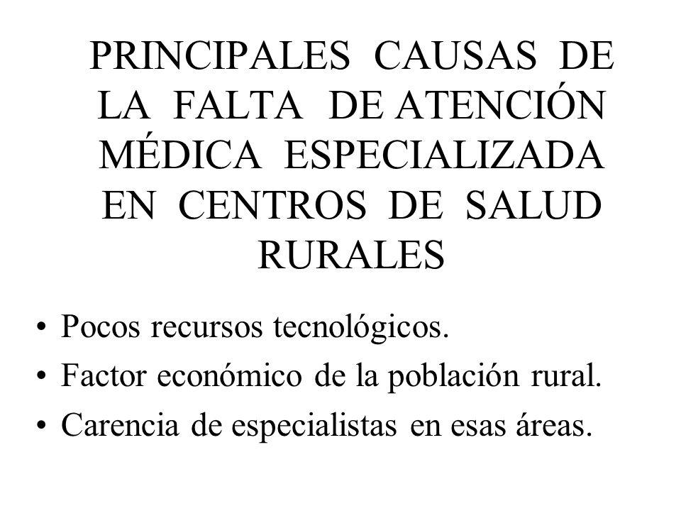 PRINCIPALES CAUSAS DE LA FALTA DE ATENCIÓN MÉDICA ESPECIALIZADA EN CENTROS DE SALUD RURALES