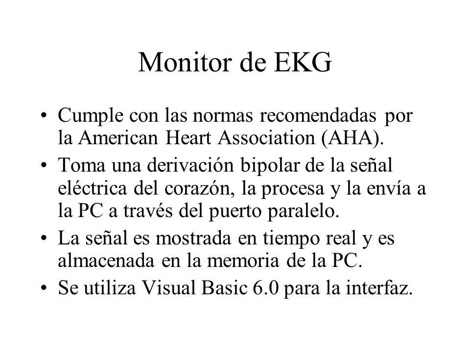 Monitor de EKGCumple con las normas recomendadas por la American Heart Association (AHA).