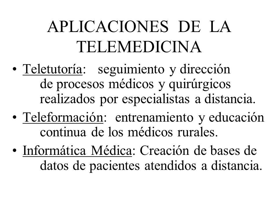 APLICACIONES DE LA TELEMEDICINA