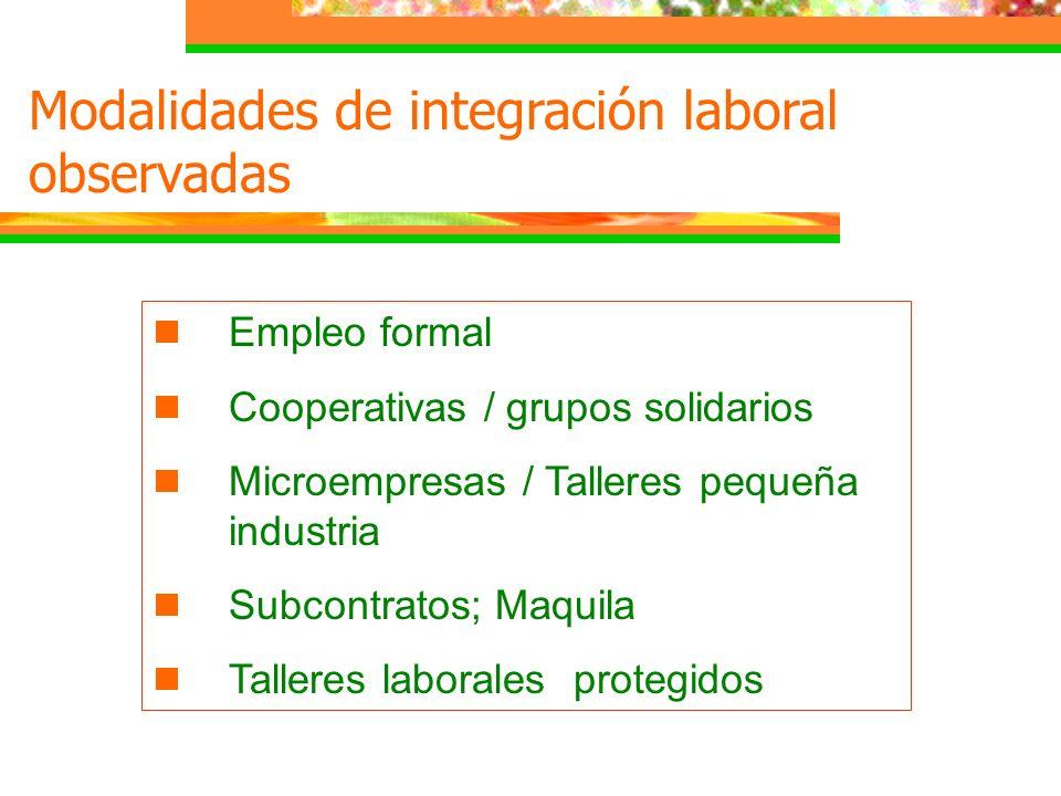 Modalidades de integración laboral observadas