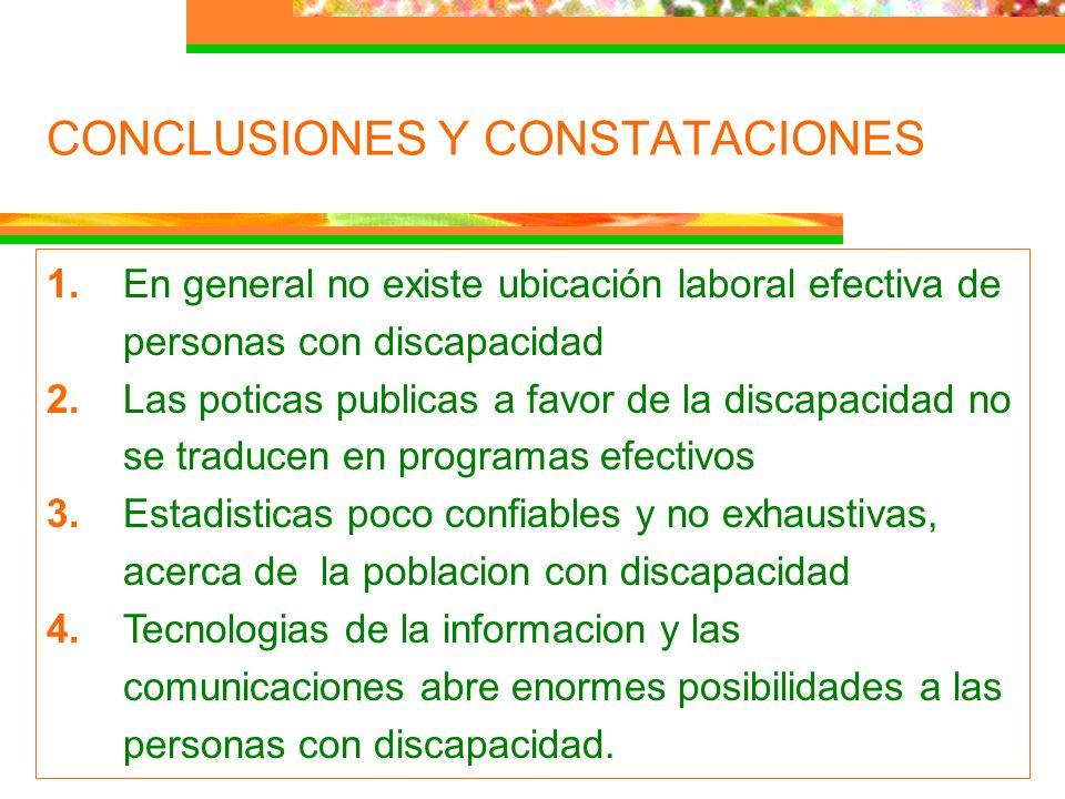 CONCLUSIONES Y CONSTATACIONES