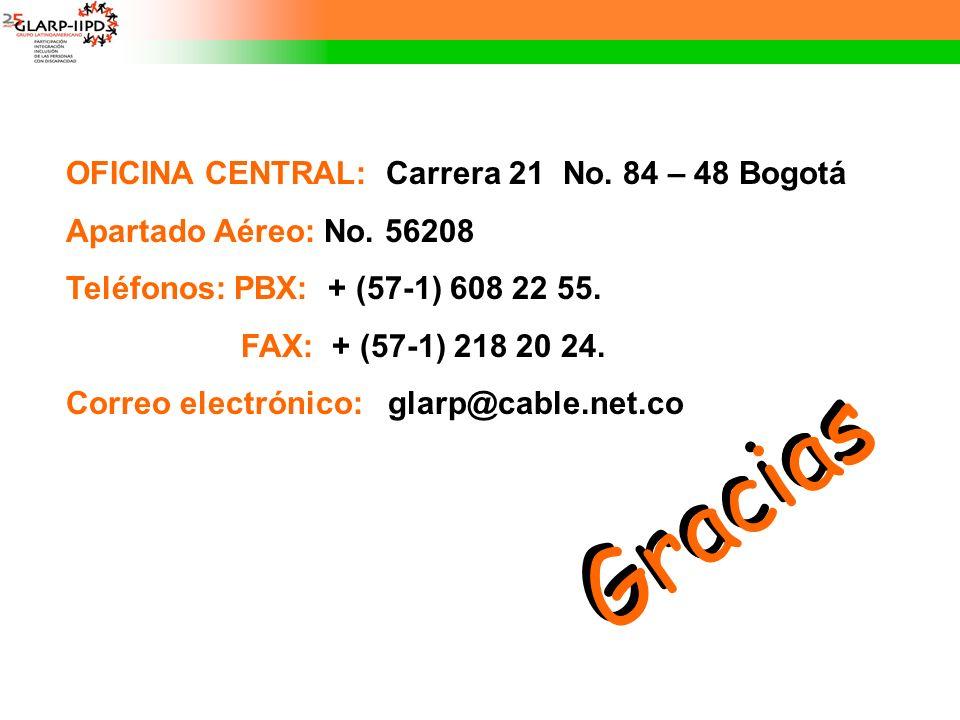 Gracias OFICINA CENTRAL: Carrera 21 No. 84 – 48 Bogotá