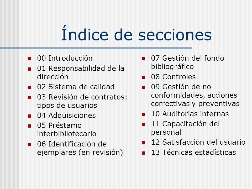 Índice de secciones 00 Introducción 01 Responsabilidad de la dirección