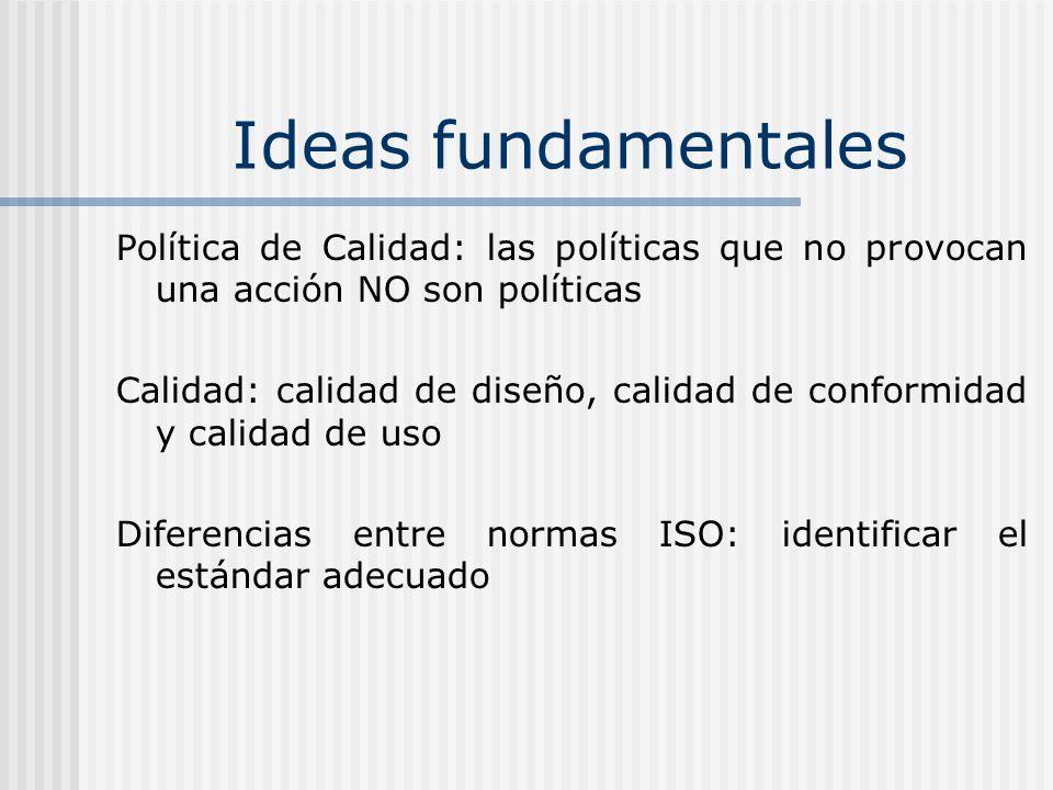 Ideas fundamentales Política de Calidad: las políticas que no provocan una acción NO son políticas.