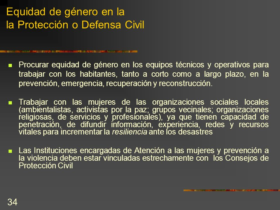 Equidad de género en la la Protección o Defensa Civil