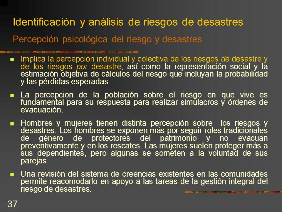 Identificación y análisis de riesgos de desastres Percepción psicológica del riesgo y desastres