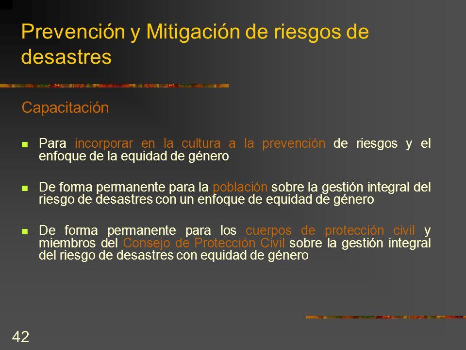 Prevención y Mitigación de riesgos de desastres