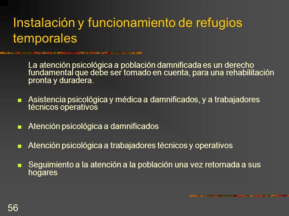 Instalación y funcionamiento de refugios temporales