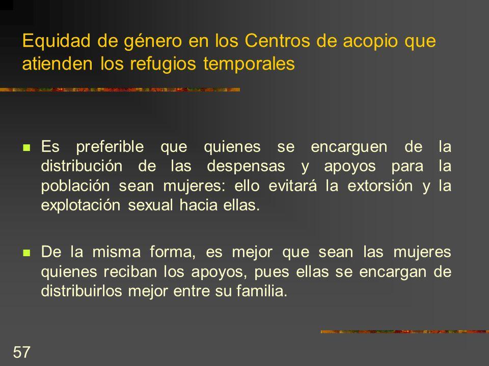 Equidad de género en los Centros de acopio que atienden los refugios temporales