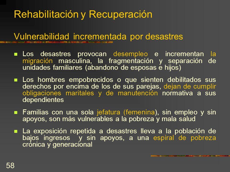 Rehabilitación y Recuperación Vulnerabilidad incrementada por desastres